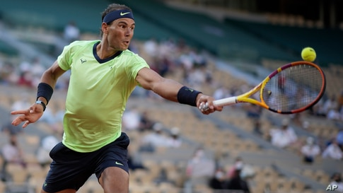 Spain's Rafael Nadal plays a return to Italy's Jannik Sinner during their fourth round match on day 9, of the French Open…