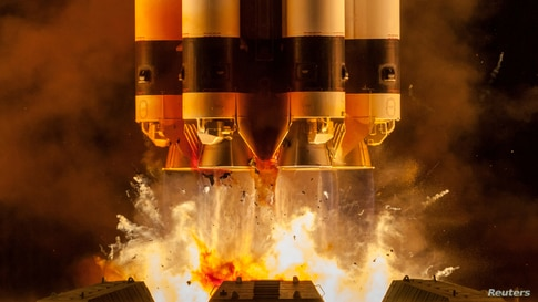 Proton-M carrier rocket with Briz-M booster, Ekspress-80 and Ekspress-103 satellites blasts off from the launchpad at the Baikonur Cosmodrome