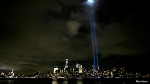 Tribute In Light shines on eve of 19th anniversary of September 11, 2001 attacks on the World Trade Center in New York