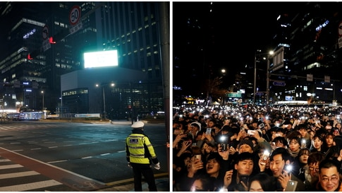 A combination photo shows Seoul on New Year's Eve in 2019 and 2020