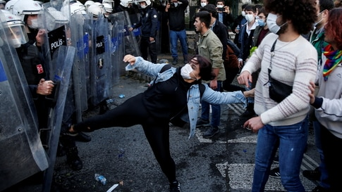 Turkish riot police clash with students of Bogazici University in Istanbul