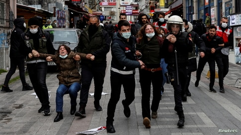 Students of Bogazici University protest against President Tayyip Erdogan's appointment of a new rector, in Istanbul