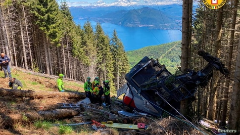 A crashed cable car is seen after it collapsed in Stresa, near Lake Maggiore