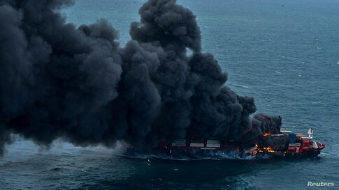 Smoke rises from a fire onboard the MV X-Press Pearl container ship off the Colombo Harbour