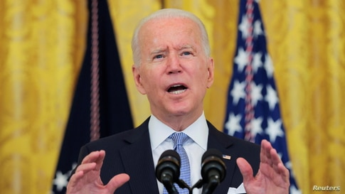 U.S. President Joe Biden speaks about the pace of coronavirus disease (COVID-19) vaccinations during remarks at the White House in Washington