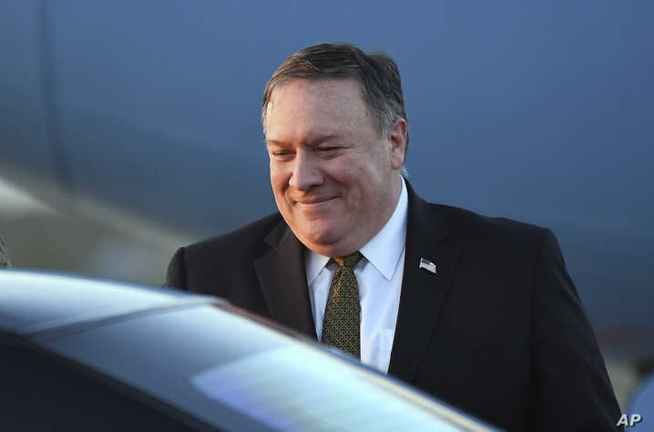 U.S. Secretary of State Mike Pompeo arrives at Osan Air Base in Pyeongtaek, in South Korea, Oct. 7, 2018, after his North Korea trip.