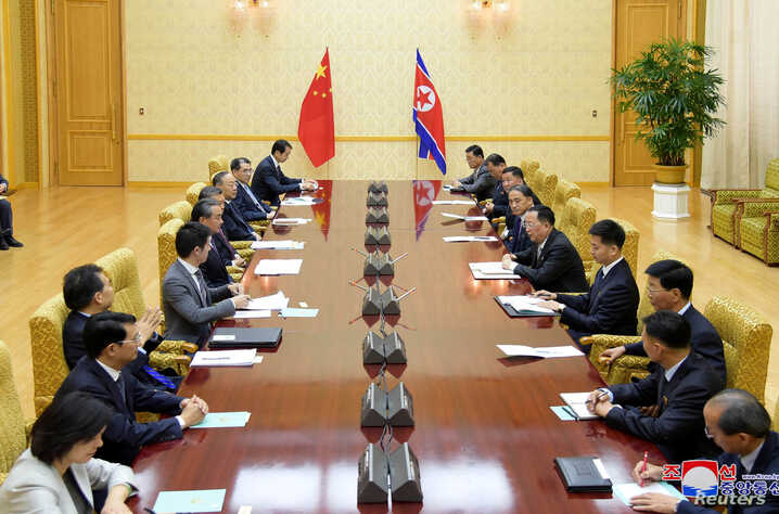 Wang Yi, China's state councilor and foreign minister, and his delegates meet with North Korean Foreign Minister Ri Yong Ho in Pyongyang, North Korea, in this Sept. 2, 2019, photo released by North Korea's Korean Central News Agency.