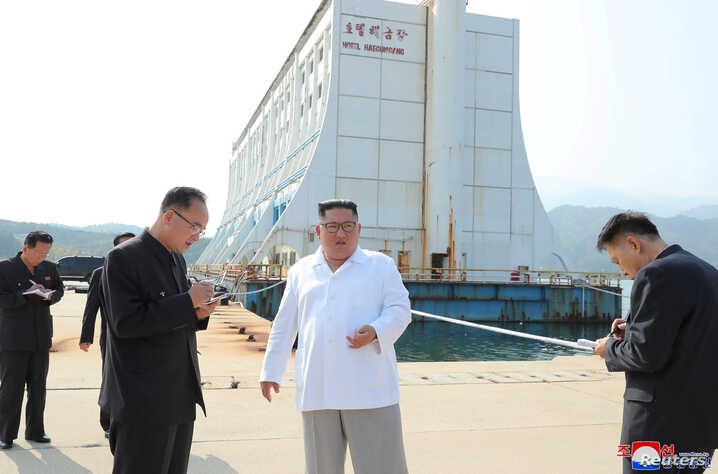 North Korean leader Kim Jong Un inspects the Mount Kumgang tourist resort in this undated picture released by North Korea's Central News Agency, Oct. 23, 2019.