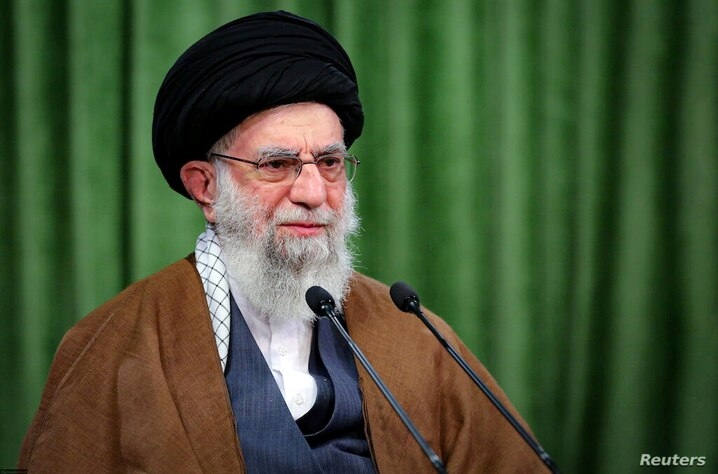 FILE PHOTO: Iran's Supreme Leader Ayatollah Ali Khamenei delivers a virtual speech, on the occasion of the Prophet Mohammad's…
