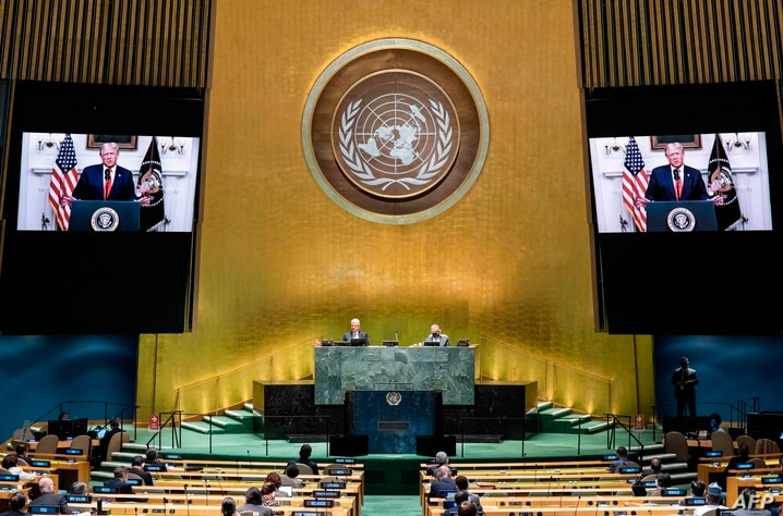 This UN handout photo shows US President Donald Trump(on screen), as he addresses the general debate of the seventy-fifth…
