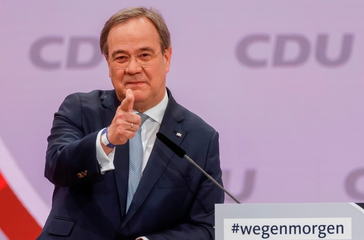 North Rhine-Westphalia's State Premier and candidate as leader of the Christian Democratic Union (CDU) Armin Laschet delivers a…