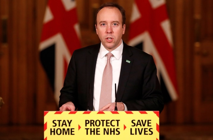Britain's Health Secretary Matt Hancock attends a virtual press conference to update the nation on the COVID-19 pandemic,…