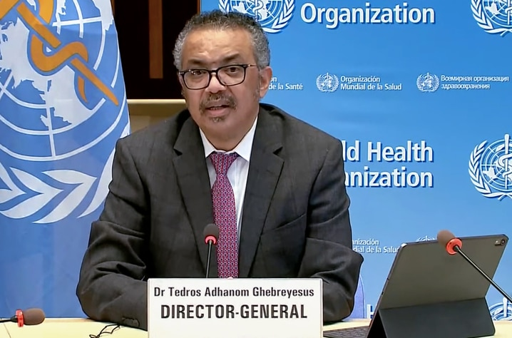 This handout TV grab taken on January 5, 2021 shows World Health Organization (WHO) Ethiopian Director-General Tedros Adhanom…