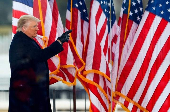 """WASHINGTON, DC - JANUARY 06: President Donald Trump greets the crowd at the """"Stop The Steal"""" Rally on January 06, 2021 in…"""