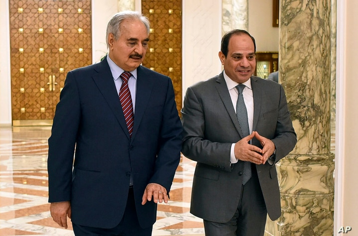 FILE - In this May 9, 2019 file photo, provided by Egypt's presidency media office, Egyptian President Abdel-Fattah el-Sissi,…