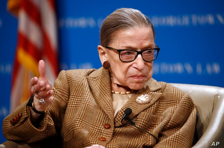 FILE - In this Feb. 10, 2020, file photo U.S. Supreme Court Associate Justice Ruth Bader Ginsburg speaks during a discussion on…