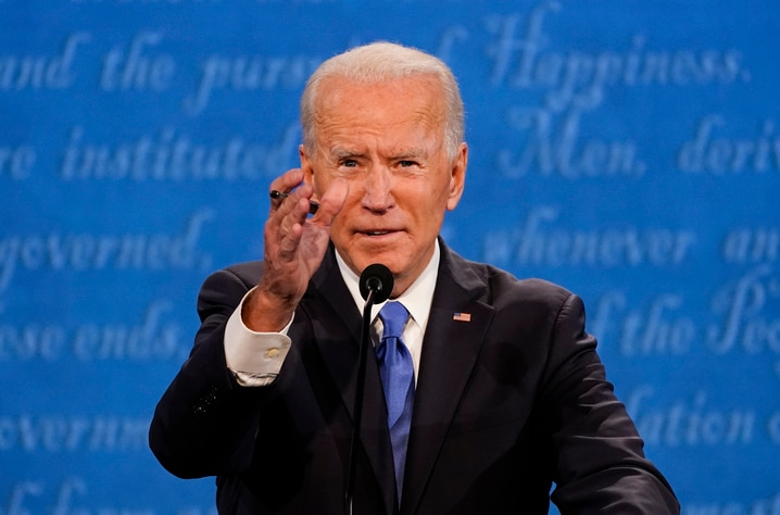 Democratic presidential candidate former Vice President Joe Biden gestures while speaking during the second and final…