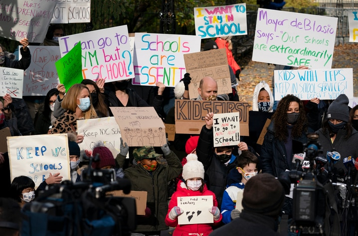 Parents and children gather in front of New York's City Hall to protest the closing of public schools, Thursday, Nov. 19, 2020…