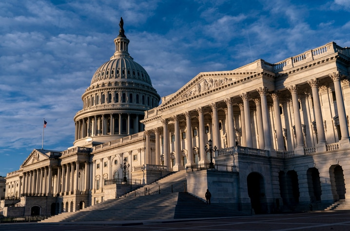 The Senate side of the U.S. Capitol is seen on the morning of Election Day, Tuesday, Nov. 3, 2020, in Washington. (AP Photo/J…