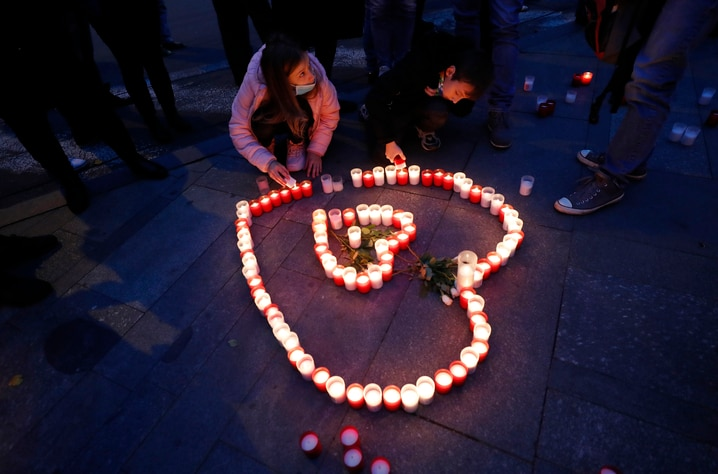 People light candles during the celebrations of the 31st anniversary of the pro-democratic Velvet Revolution that ended…