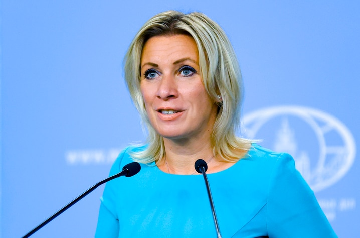 In this photo released by the Russian Foreign Ministry Press Service, Russian Foreign Ministry spokesperson Maria Zakharova…