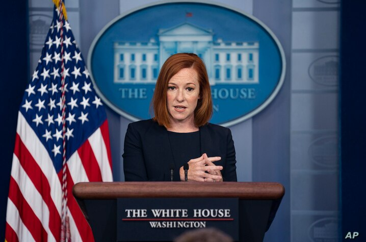 White House press secretary Jen Psaki speaks during a press briefing at the White House, Monday, July 12, 2021, in Washington. …