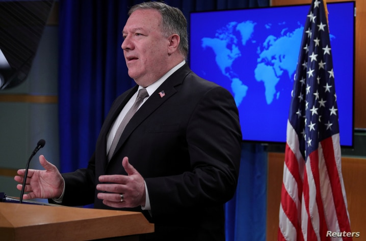 FILE PHOTO: U.S. Secretary of State Pompeo holds press briefing at the State Department in Washington