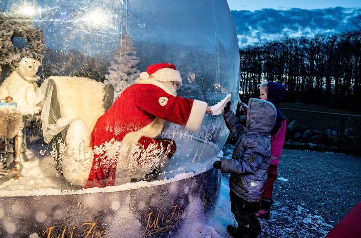 """Santa Claus meets with children while sitting in a """"Santa Claus bubble"""" at Aalborg Zoo"""