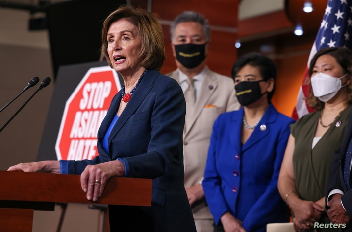 Speaker of the House Nancy Pelosi attends a news conference in Washington, U.S., about the COVID-19 Hate Crimes Act
