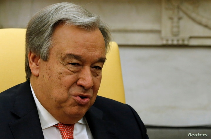 FILE PHOTO: UN Secretary General Antonio Guterres delivers remarks to reporters before his meeting with U.S. President Donald Trump in the Oval Office at the White House in Washington