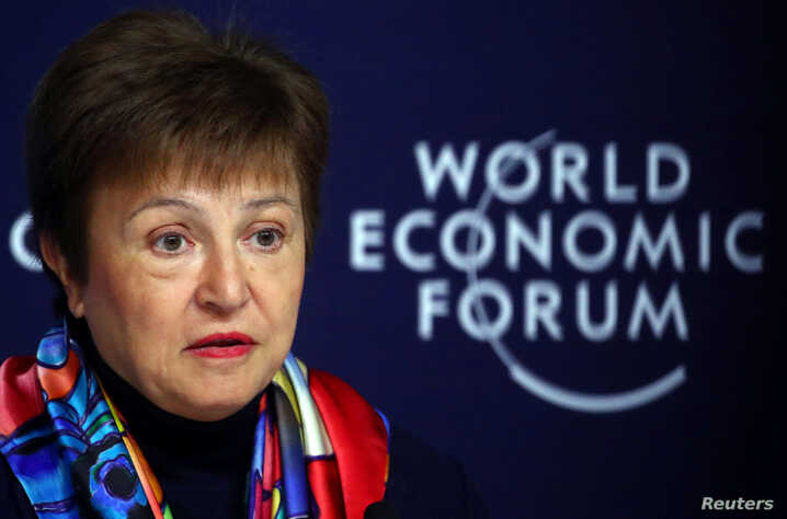 IMF Managing Director Kristalina Georgieva speaks at a news conference ahead of the World Economic Forum (WEF) in Davos,…