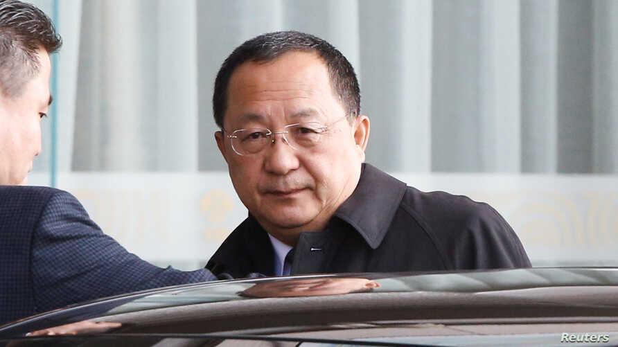 North Korean Foreign Minister Ri Yong Ho leaves Capital International Airport in Beijing, China, after returning from talks in Sweden, March 19, 2018.