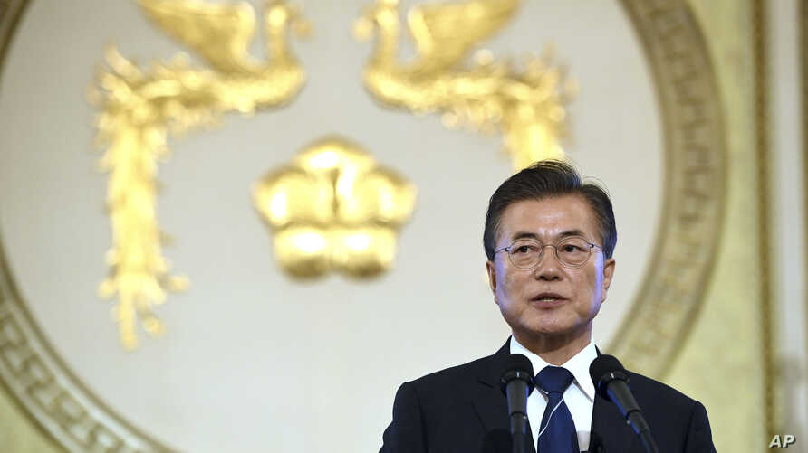 South Korean President Moon Jae-in speaks during a press conference marking his first 100 days in office at the presidential house in Seoul, Aug. 17, 2017.