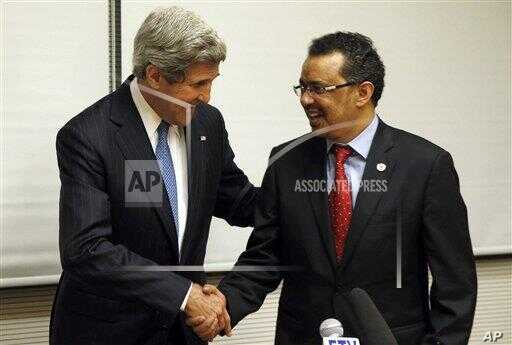 U.S. Secretary of State John Kerry, left, and Ethiopian Foreign Foreign Minister Tedros Adhanom shakes hands during a joint press conference in Addis Ababa, Ethiopia, Saturday, May 25, 2013. Making his first official trip to sub-Saharan Africa, U.S. Secre