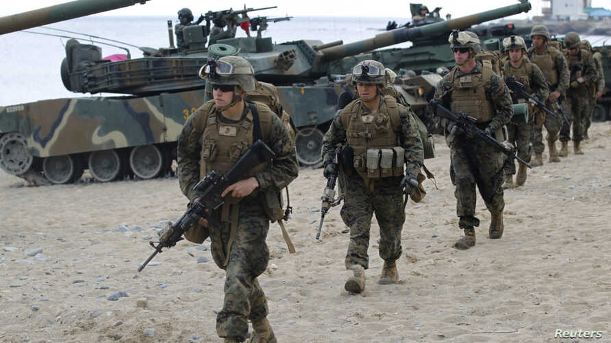 US troops who participated in the US-Korea combined exercise in Pohang, South Korea in April of last year, are conducting landing exercises.