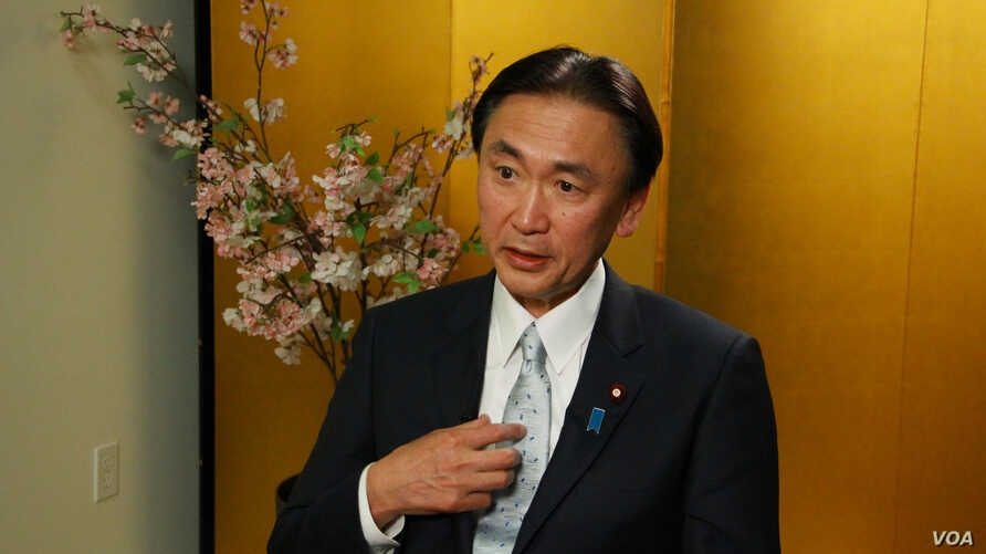 Japan's Minister of State for the Abduction Issue Keiji Furuya speaks to VOA Korean Service during an interview at the Japan Information and Culture Center in Washington, DC May 2, 2013.