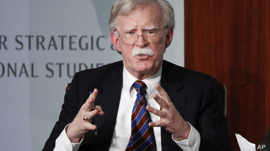 Former National security adviser John Bolton gestures while speaking at the Center for Strategic and International Studies (CSIS) in Washington, Monday, Sept. 30, 2019. (AP Photo/Pablo Martinez Monsivais)