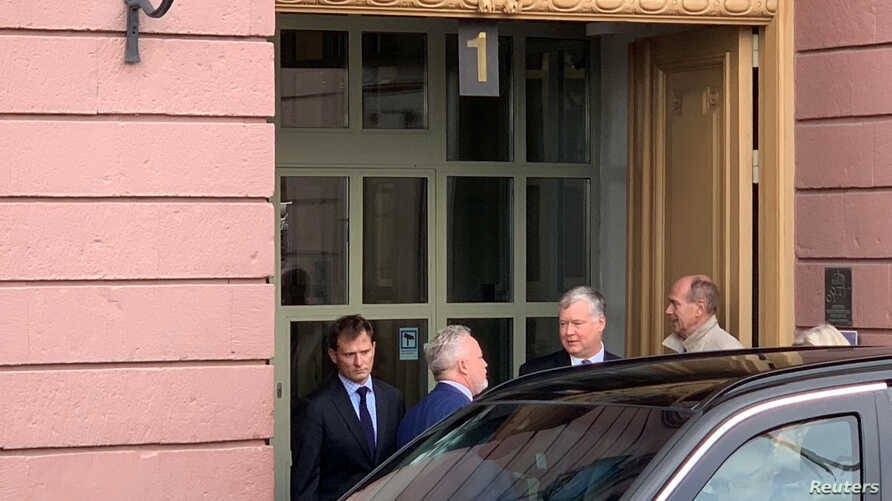 U.S. special envoy for North Korea Stephen Biegun leaves a meeting at the Swedish Foreign Ministry in Stockholm, Oct. 4, 2019.