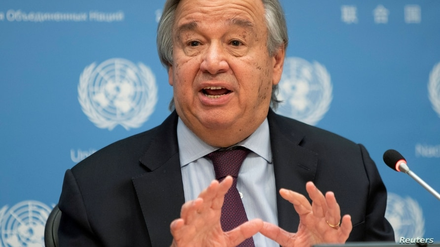 FILE PHOTO: FILE PHOTO: United Nations Secretary-General Antonio Guterres speaks during a news conference at U.N. headquarters…