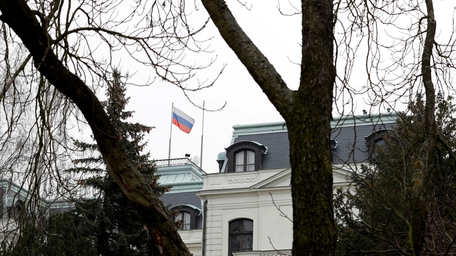FILE PHOTO: A national flag of Russia flies on the Russian embassy in Prague, Czech Republic, March 26, 2018. REUTERS/David W…