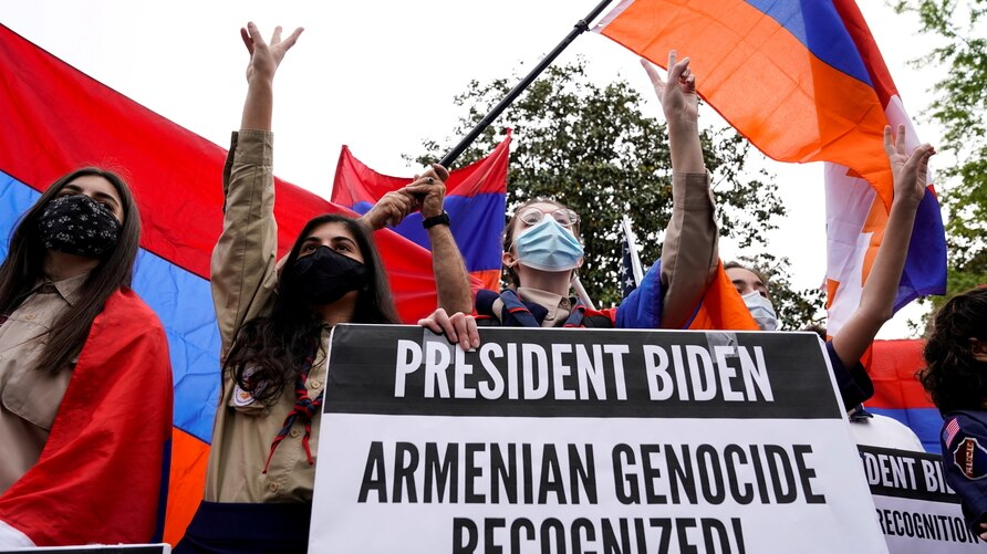 Members of the Armenian diaspora rally in front of the Turkish Embassy after U.S. President Joe Biden recognized that the 1915…