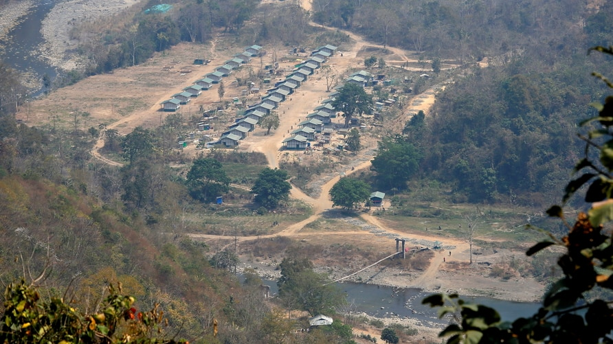A general view of a camp of the Myanmar ethnic rebel group Chin National Front is seen on the Myanmar side of the India-Myanmar…