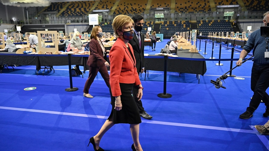 Scottish First Minister Nicola Sturgeon arrives at Glasgow counting centre in the Emirates Arena in Glasgow, Scotland, Britain…