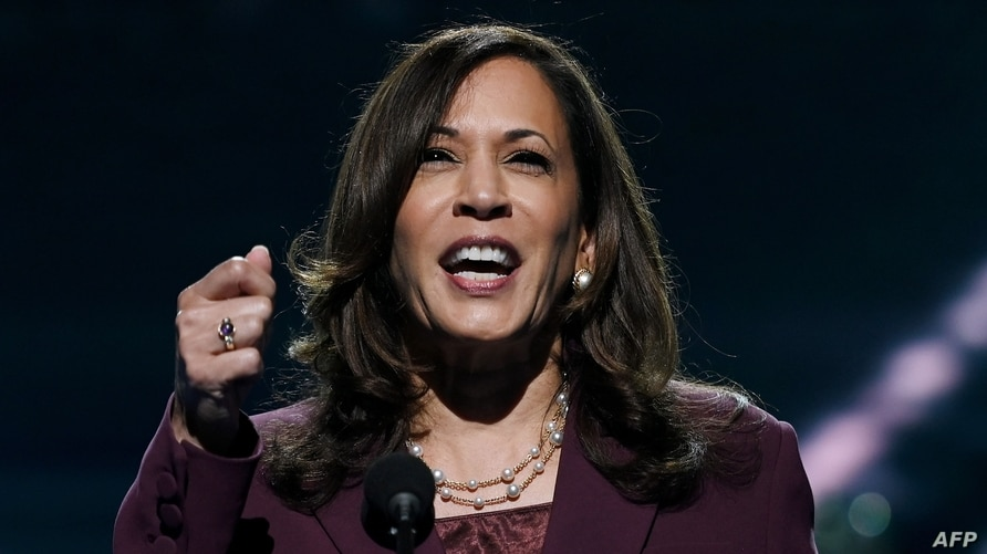 TOPSHOT - Senator from California and Democratic vice presidential nominee Kamala Harris speaks during the third day of the…