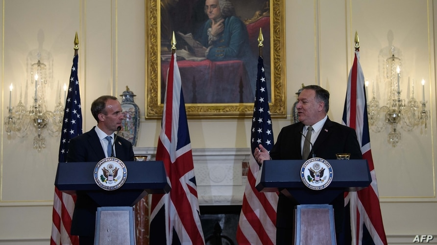 US Secretary of State Mike Pompeo (R) speaks at a press conference with British Foreign Secretary Dominic Raab at the State…