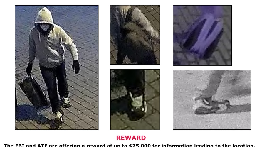 This image obtained from the FBI shows a a poster offering a reward for information on a suspect who allegedly planted bombs on…