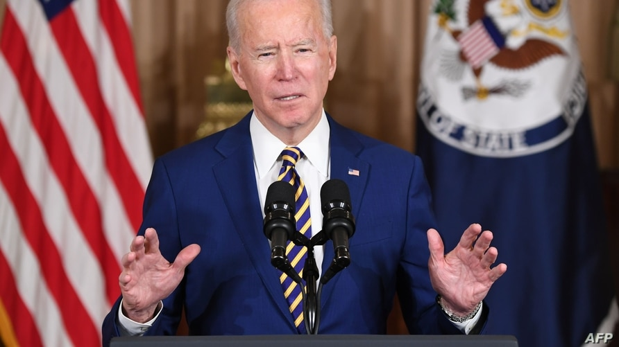 US President Joe Biden speaks about foreign policy at the State Department in Washington, DC, on February 4, 2021. - Biden said…