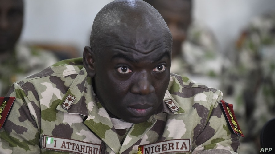 (FILES) In this file photo taken on October 04, 2017 Commander of the Operation Lafiya Dole Major General Ibrahim Attahiru…