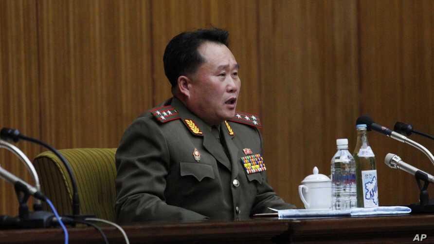 Ri Son Kwon, chief of the policy department of North Korea's National Defense Commission, attends a news conference in…