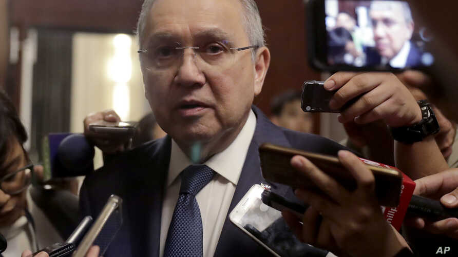 Philippine Ambassador to the United States Jose Manuel Romualdez talks to the media following a news conference with U.S…